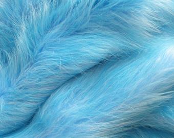 """Blue Long Pile Faux Fur fabric, Luxury Faux Fur 19"""""""