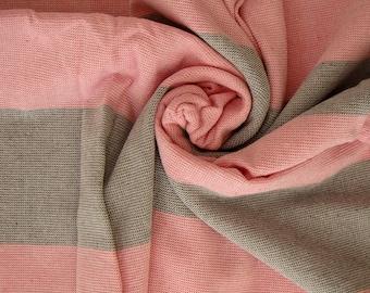 Pink & Gray Terry on one side Peshtemal Towel, Pink Striped Beach Towel, Terry Beach Towel, Pink and Gray Striped Towel, Turkish Beach Towel