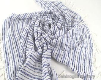 Royal Blue Hand-loomed Peshtemal, Turkish Beach Towel, Soft Towel, Red Peshtemal Towel, Top Quality handmade Turkish Beach Towel, Bath Towel