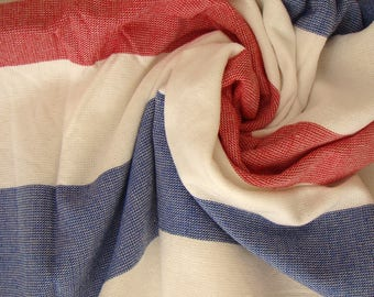 Red & Blue Terry on one side Peshtemal Towel, Red Striped Beach Towel, Terry Beach Towel, Blue and Red Striped Towel, Turkish Beach Towel