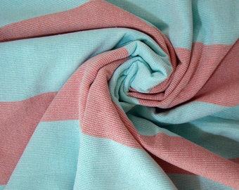 Aqua Green & Red Terry on one side Peshtemal Towel, Red Striped Beach Towel, Terry Beach Towel, Green Striped Towel, Turkish Beach Towel