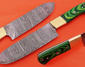 """Damascus Chef Knife, Damascus Steel Classic Bowie Knife, 10"""" Brass Bolster With Green Micarta Handle Handle, Fixed Blade, Full Tang"""