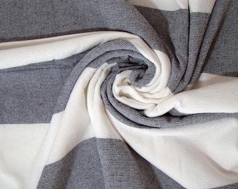 Gray & White Terry on one side Peshtemal Towel, Gray Striped Beach Towel, Terry Beach Towel, Gray Striped Towel, Turkish Beach Towel