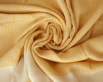 Yellow Hand-loomed Peshtemal, Turkish Peshtemal Towel, Turkish Beach Towel, Yellow Beach Towel, Turkish Handmade Beach Towel, Yellow Towel