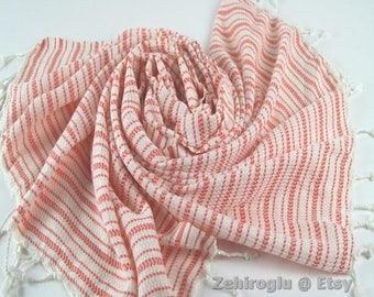 Red Hand-loomed Peshtemal, Turkish Beach Towel, Soft Towel, Red Peshtemal Towel, Top Quality handmade Turkish Beach Towel, Limited Supply