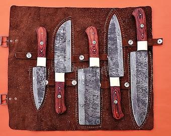 Custom Handmade Damascus Steel Fixed Blade Kitchen Chef Knife Set, 5 Piece Chef Set Razor Sharp Handforge On The Blades
