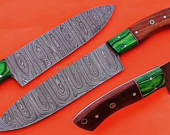 """Damascus Chef Knife, Damascus Steel Classic Bowie Knife, 12"""" Green Sheet With Walnut Wood Handle Handle, Fixed Blade, Full Tang"""