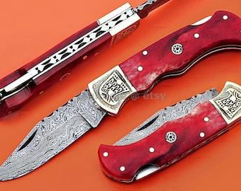 "Damascus Back Lock Folding Knife, 6.5"" Handwork Brass Bolster Point Blade, Red Color Bone Handle, Pocket Knife, Razor Sharp"
