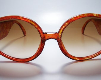 Christian Dior 2603 vintage semi-clear optyl (ruby / yellow pattern)  gold sunglasses, New Old Stock 1980s, Vintage Sunglasses. NOS 1980s