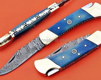 "Damascus Back Lock Folding Knife, 7.5"" Brass Bolster Point Blade, Blue Color Bone Handle, Pocket Knife, Razor Sharp"