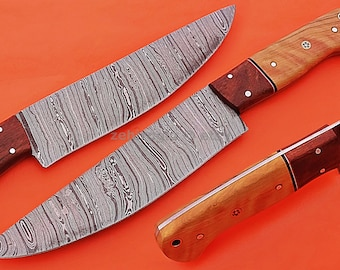 """Damascus Chef Knife, Damascus Steel Classic Bowie Knife, 10"""" Walnut Wood, Olive Wood Handle Handle, Fixed Blade, Full Tang"""