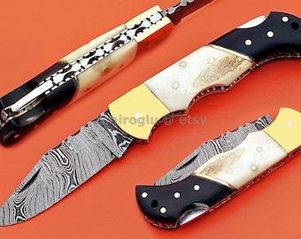 "Damascus Back Lock Folding Knife, 6.5"", Brass Bolster Point Blade, Camel Bone, Buffalo Horn Handle, Pocket Knife, Razor Sharp"