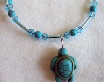 Bracelets Turtle designs adjustable lengths turquoise cystals
