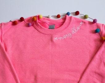 Girls Custom Embroidered Neckline Sweatshirt #117