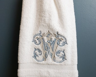 White Plush Hand Towel with Custom Fancy  Monogram, Personalized Monogrammed Guest Towel #113