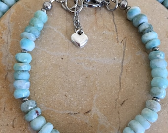 """Dominican Larimar Bracelet Faceted 6mm Rondelle beads in Stainless Steel GORGEOUS!!! 6.75""""-8"""" adjustable"""