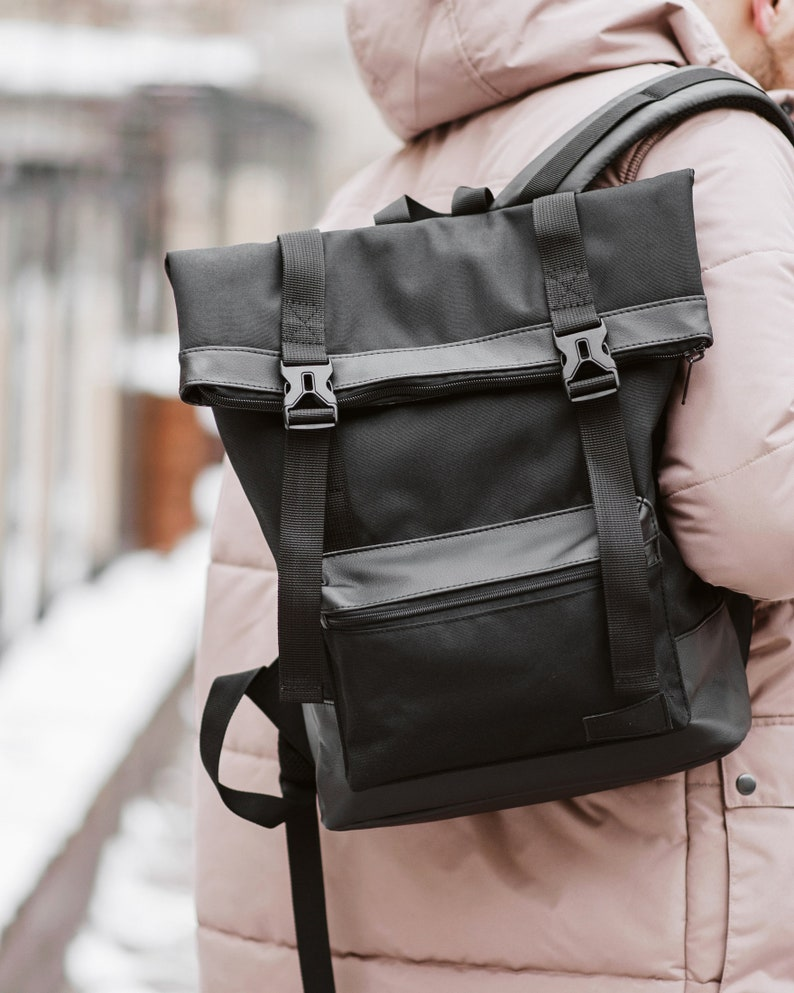 Black Laptop Backpack Men Backpack Roll Top Waxed Canvas Backpack Black  vegan Leather Men Backpack Canvas Roll top Backpack Satchel Rucksack