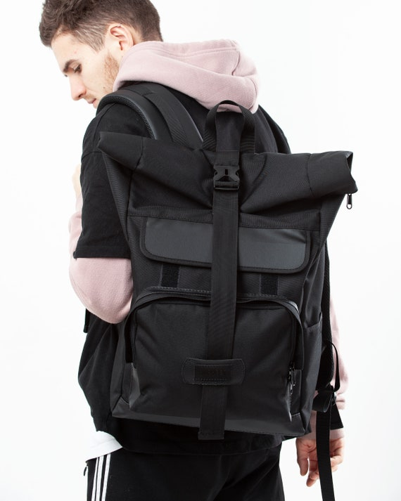 Travel Backpack Rolltop Backpack Roll Top Knapsack Waxed  19ece9fa6c43d