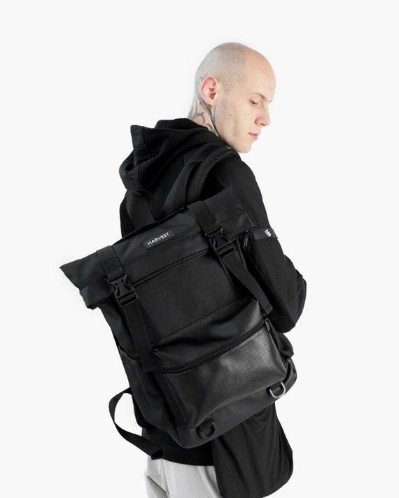 Waterproof  rucksack Customized Laptop backpack Black vegan backpack