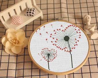 Dandelion Cross Stitch pattern, modern cross stitch pattern