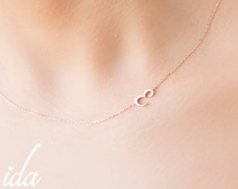 Personalized Necklace - Sideways Initial Necklace - Rose Gold Necklace - Choker Necklace - Jewelry - Letter Necklace-Bridesmaid Gift For Her