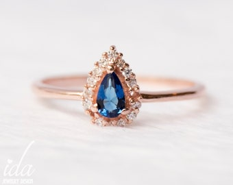 Engagement Sapphire Ring Stacking Ring Sapphire Unique Engagement Ring Solid Gold Ring timna Gold Sapphire Ring Precious Stone Ring