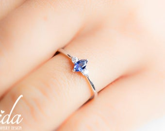 Personalized Birthstone Ring - Sapphire Ring - Birthstone Jewelry - Marquise Ring - Personalized Gift for Her - Birthstone Stacking Rings