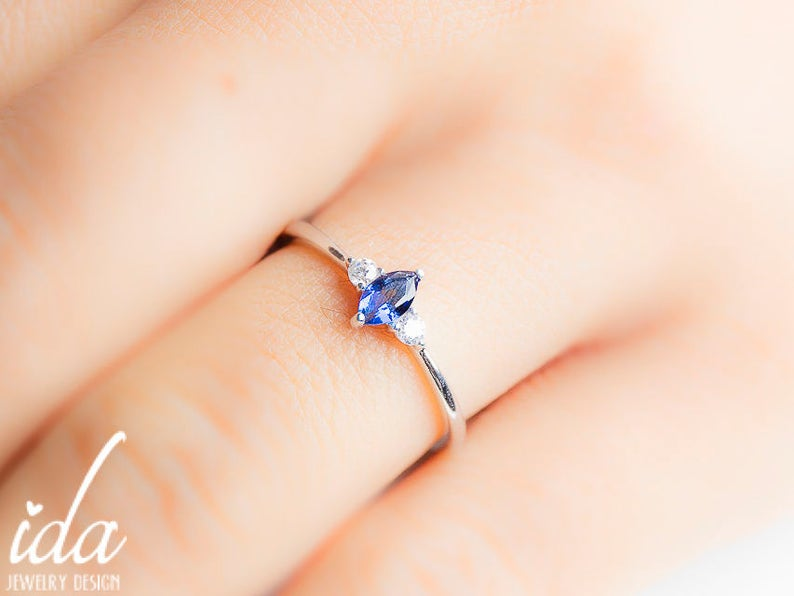 Personalized Birthstone Ring  Sapphire Ring  Birthstone image 0