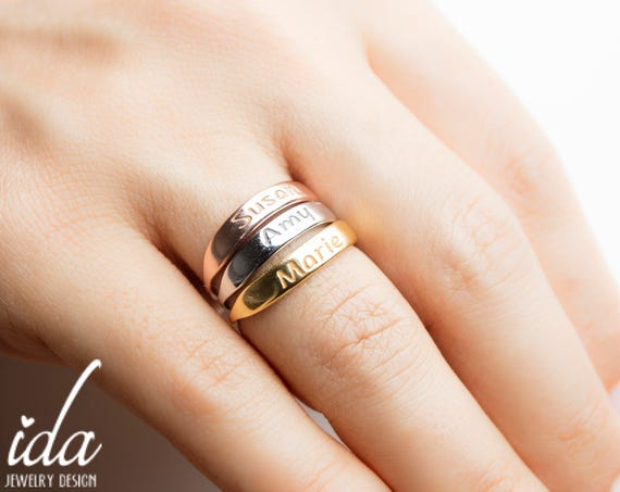 Stackable Name Rings Personalized Ring Gold Name Ring Etsy