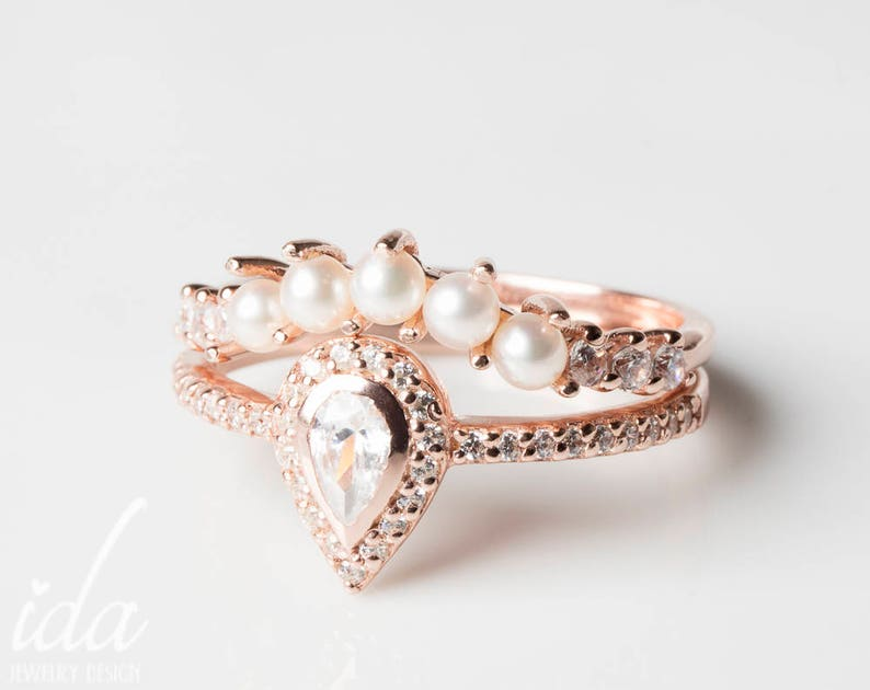 Wedding Ring Set Wedding Band Pearl Ring Pear Shaped Etsy