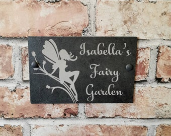 Fairy garden, fairy, garden sign, slate, personalised, gift, mothers day, fathers day, birthday gift, hanging sign, christmas, summer.