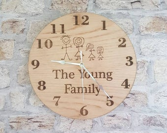 Oak veneered clock, personalised clock, family clock, birthday gift, anniversary gift, gift for her, gift for couple, clock gift,