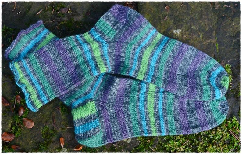 socks women's size UK 65-7 / US 85-9 hand knit OPAL image 0