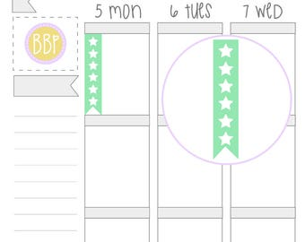 Multicolour 6 Star Checklists | Planner Stickers | 002