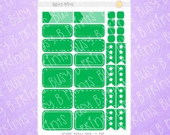Green Functional Stickers | Planner Stickers | 009