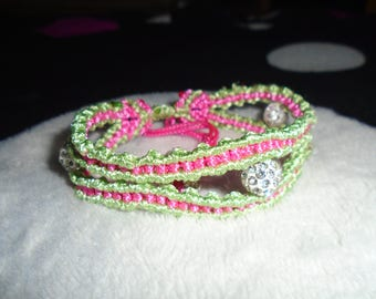 XL Macrame Bracelet in Green and Pink with Whites Beads