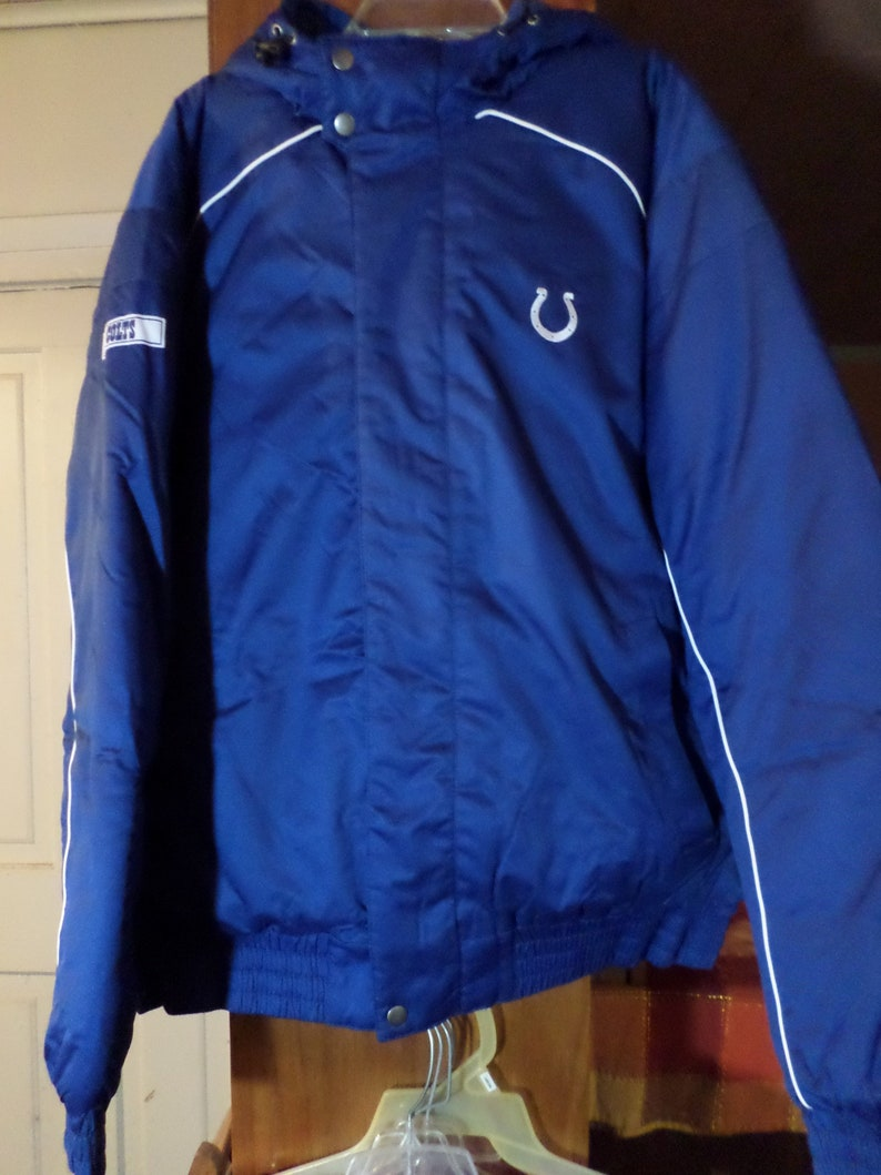 timeless design c648b cddc4 Indianapolis COLTS NFL Team Apparel Hooded Winter Coat Large Blue White  FREE U.S. Shipping *Please Read