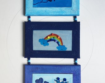 Vertical triptych 3 small frames with multi-technical bead rope wall decoration