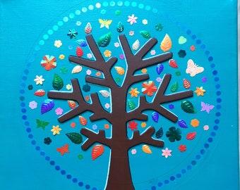 The Tree of Life - Small, unique handmade decorative canvas - 30x30cm square format
