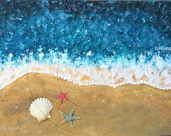 Small beach - Painting and collage on a single-layered canvas handmade multi-technical summer colors