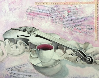 The white violin - Acrylic violin and tea painting with collage music scores on frame 46x38cm 8F