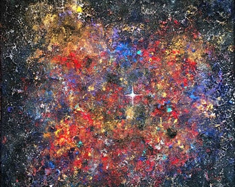 Multicolored nebula... Abstract painting canvas acrylic interior decoration on frame entiled 40x40cm
