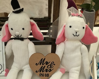 Personalised Bride & Groom Sock Bunny Couple -(Groom+Groom/Bride+Bride also available)