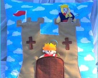 Child's Castle Cushion - with pull-out Prince & Princess in pouch - Play Cushion
