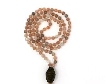Moonstone Buddha Mala *  Hand knotted * 108 meditation Mala beads * Buddha guru bead