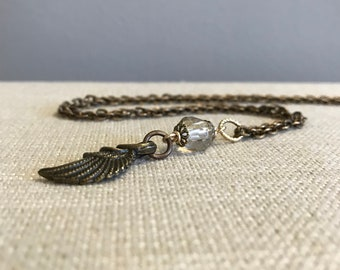 Glass Bead and Angel Wing Pendant Necklace