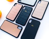Personalized iphone XR leather phone case, iphone xr case personalised initials, Custom Monogram iphone xr case, Embossed iphone xr case