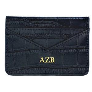 card holder monogram leather card holder stocking filler Nude embossed leather monogram card holder gift for her embossed leather