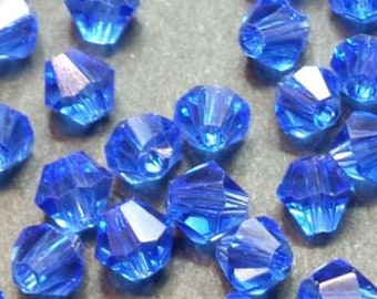40 faceted glass bicone 4mm ocean blue glass beads