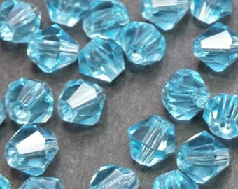 40 faceted glass bicone 4mm sky blue glass beads